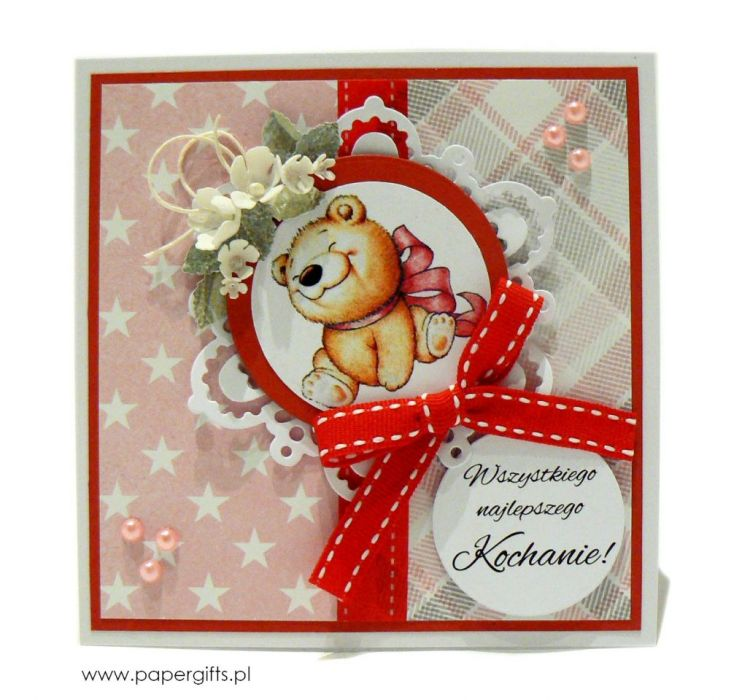 Kartka urodziny dziecka miś z różową kokardą - Kartka na urodziny dziecka