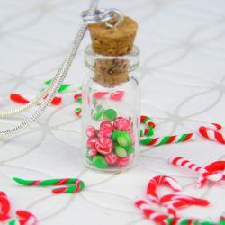 Kolczyki buteleczki z cukierkami