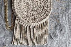 Okrągła torebka MOLLY w stylu BOHO, wykonana ręcznie ze sznurka, za pomocą szydełka