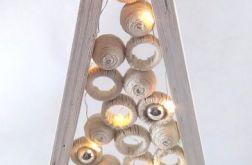 Choinka drewniana 20 LED Biała z kulkami