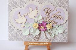 Kartka ślubna z serduszkami fioletowa