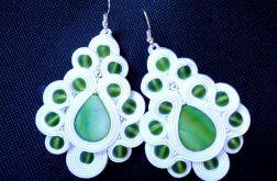 Ślubne Kolczyki Sutasz biało - zielone z masą perłową