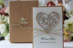 Rustykalna kartka ślubna z pudełkiem 6