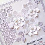 Kartka ŚLUBNA biało-fioletowa #1 /Z - Biało-fioletowa kartka ślubna z kwiatami