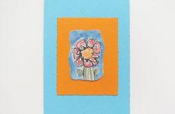 Kartka niebieska z kwiatkiem 9