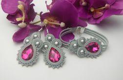Komplet biżuterii sutasz fuksja szary siwy