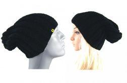 komplet 2 czarnych czapek - damska i męska