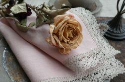 Serweta lniana Pudrowy róż z koronką