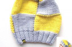 komplet 2 czapek w kratę szaro-żółtą