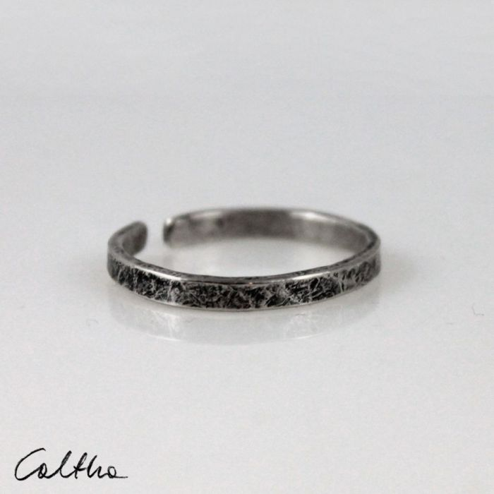 Nieregularna - srebrna obrączka  200131-01 - Cienki pierścionek