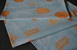 Bieżnik - rude liście na błękicie - 40 x 160 cm