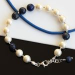 Bransoletka z pereł i lapis lazuli - bransoletka z pereł Seashell, lapis lazuli, srebra