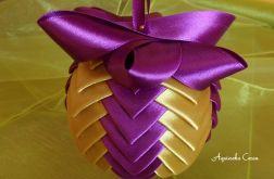 Bombka fioletowo-złota 8 cm pionowe paski