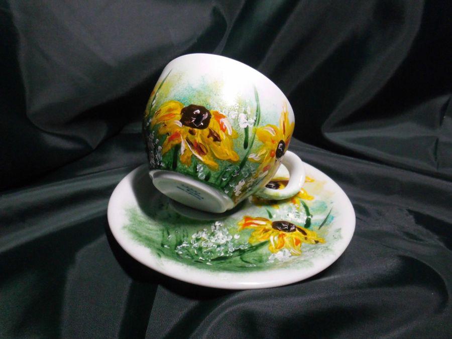 Filiżanka ręcznie malowana kwiaty słoneczniki - filiżanka ręcznie malowana