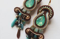 Miętowo-brązowe kolczyki z kryształkami