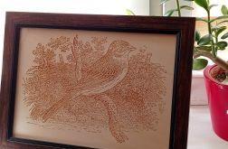 2B. Obraz Drzeworyt Ptak Efekt Korników (345x258)mm