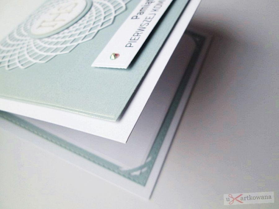 Kartka PAMIĄTKA I KOMUNII niebiesko-biała #1 -