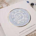 Zaproszenia na komunię - wzór 5 błękit - eleganckie zaproszenia, zaproszenia glamour, zaproszenia na chrzest