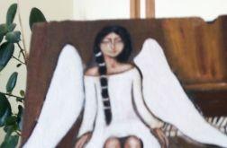 Anioł z warkoczem- akryl na desce