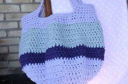 Wielka szydełkowa torba plażowa MARYNARSKA