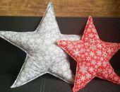 Poducha - Szara gwiazda ze śnieżynkami