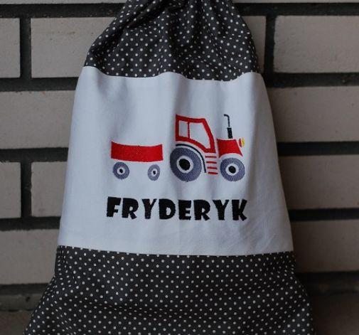 Traktor w szarym - spersonalizowany worek na zabawki