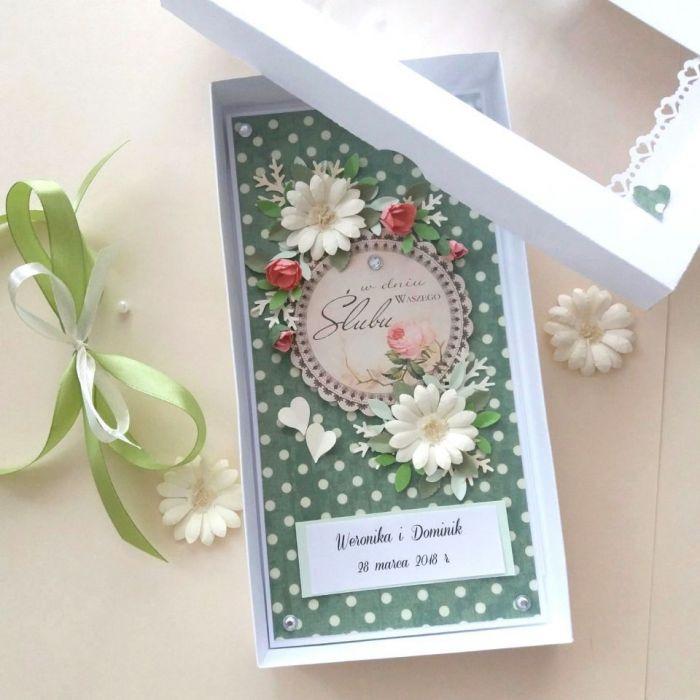 - ZIELONA MIŁOŚĆ -2 - kartka w pudełku ślubna