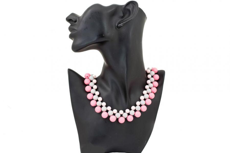 Naszyjnik kolia pastelowa różowo szara -