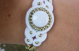 Bracelet white gold wedding soutache
