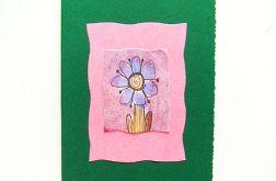Kartka ciemnozielona z kwiatkiem nr 5
