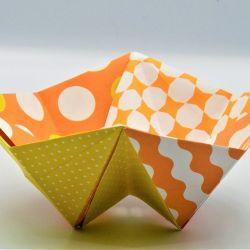 Geometryczna miseczka origami we wzory