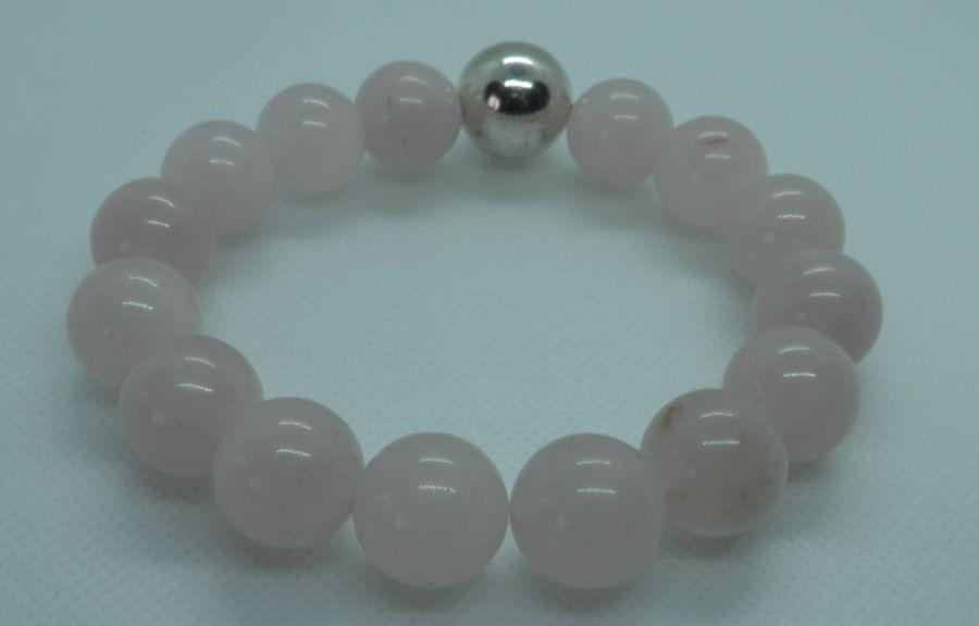 Bransoletka z dużych kul różowego kwarcu  - Bransoletka elastyczna z pięknego różowego kwarcu