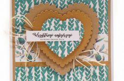 Kartka ślubna zielone girlandy i serca