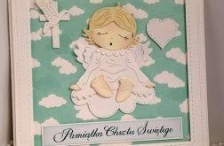 Kartka  na Chrzest Św. z aniołkiem