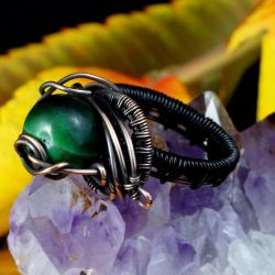 Miedziany pierścionek z tygrysim okiem