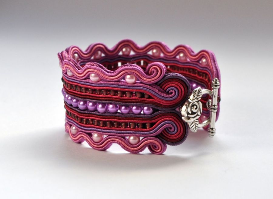 Bransoletka fioletowa z perełkami