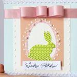 Kartka Wielkanocna z zajączkiem 1 - Kartka wiązana wstążką