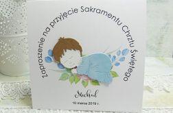 Zaproszenie na Chrzest Św.- śpiące dziecko