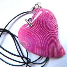 Duże różowe serce, agat pasiasty w srebrze
