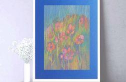 Rysunek kwiaty na granatowym tle nr 11 szkic