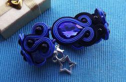 Szafirowo Czarna bransoletka z kryształkami
