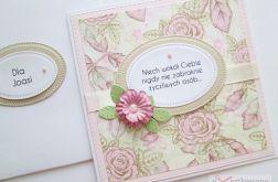 Kartka Z ŻYCZENIEM beżowo-różowa