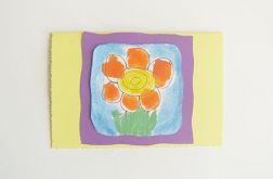 Kartka żółta z kwiatkiem nr 11