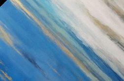 Niebieska abstrakcja ze złotem -obraz akrylowy