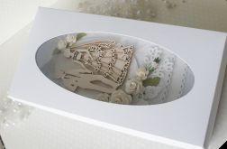 Romantyczna kartka ślubna DL w pudełku