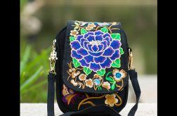 torebka haftowana niebieski kwiat