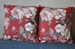 Poszewka dekoracyjna - piękne róże  na rudym tle