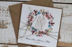 Kartka ślubna z kopertą - życzenia i personalizacja 1c