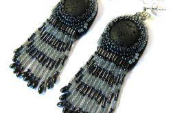 Kolczyki goth - lawa wulkaniczna z frędzlami