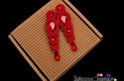 Czerwone długie eleganckie kolczyki sutasz